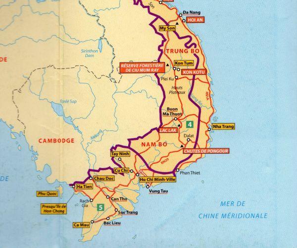 Carte du sud-vietnam
