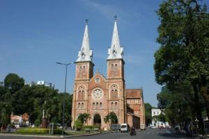 La cathédrale de Saigon, aujourd'hui Ho-Chi-Minh-Ville