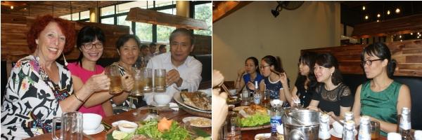 Mardi, Dang Thuy (en vert) invite Phuong Lan (Préfassienne 2005), Régine et Van Dung au restaurant Cha Ca Ngôn de My Dinh. Nous buvons un café ou un sinh to à l'ombre. Thuy a une voiture depuis le Têt, c'est mieux que la moto !