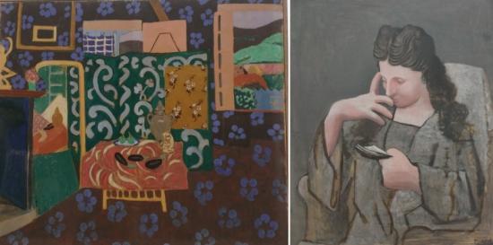 Matisse, Intérieur aux aubergines Picasso, Femme lisant