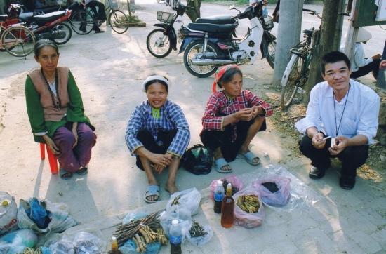 Bac Giang - Des femmes hmongs proposent des herbes et racines