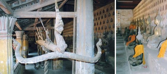 Laos - Gouttière de purification et bouddhas de profil