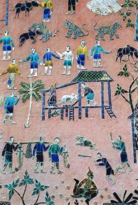 Laos - Les mosaïques de la chapelle rouge