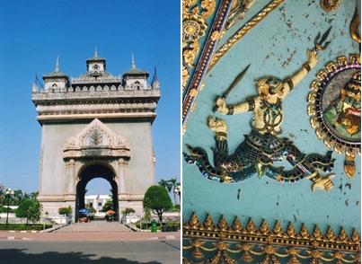 laos - L'arc de triomphe du Patuxai – Bas relief