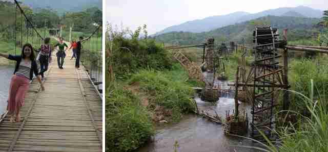 Après-midi sur les chemins de campagne. Le pont suspendu - Les norias