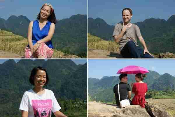 Canh Linh et décolleté bleu, Adrien, Thuy Linh et les amoureux de dos