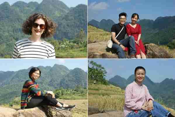 Lucile en pull rayé. Yen et son « fiancé » Vinh. Anh Tu en chemisier multicolore et Thuy Aquableu en rose