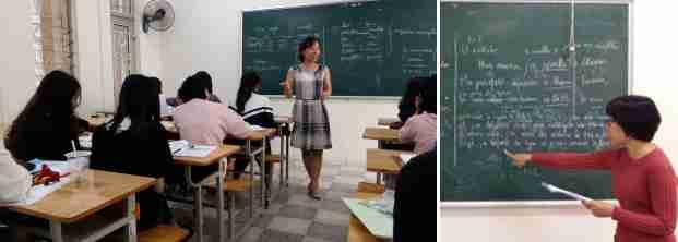 Yen fait travailler sur le futur et Anh Tu corrige un exercice sur le passé composé au tableau