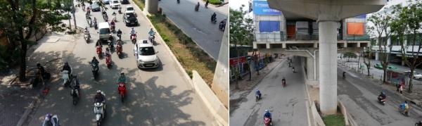 a20-lh1 - L'avenue Xuan Thuy qui passe devant l'Université, à gauche en octobre 2019, à droite en février 2020