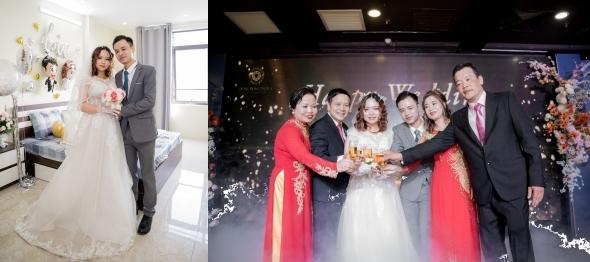 Les jeunes mariés, chez eux - Lors de la cérémonie de mariage
