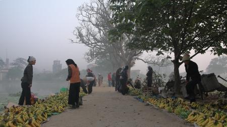 Vendeuses de bananes dans la brume hanoïenne