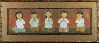 « La Prière » de Mai-Thu (1963 Cinq enfants aux mains jointes expriment leur désarroi devant le sacrifice du moine bouddhiste Thich Quang Duc qui s'est immolé par le feu le 11 juin 1963 à Saïgon